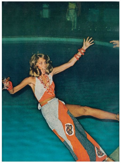 Helmut Newton. Seventies glamour, pool party style. Martini in hand. Matthew Williamson party inspiration.
