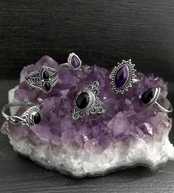 """""""Yes im a ringaholic , No I don't need any help"""" fight the winter darkness, shop link in bio ✨  -  -  -  #hellaholics #sterlingsilver #silverrings #silver #rings #crystal #crystals #stone #crystalstone #spiritual #witch #witchy #witchyjewelry #witchyfashion #occult #goth #gothic #gothstyle #boho #bohemian #vintagelook"""