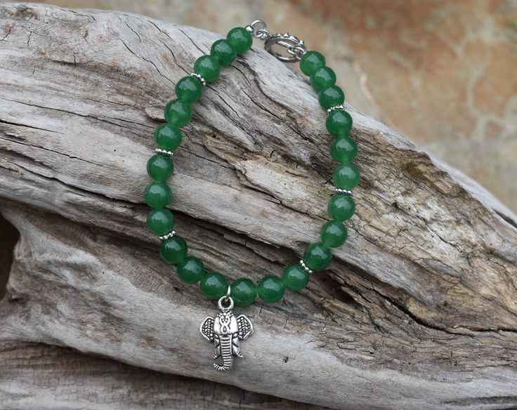 Elephant Jade Bracelet, Jade bracelet, Lucky Stone, Good Luck Bracelet, Silver Elephant Charm,, Plus Size Bracelet by ButternutJewelryShop on Etsy