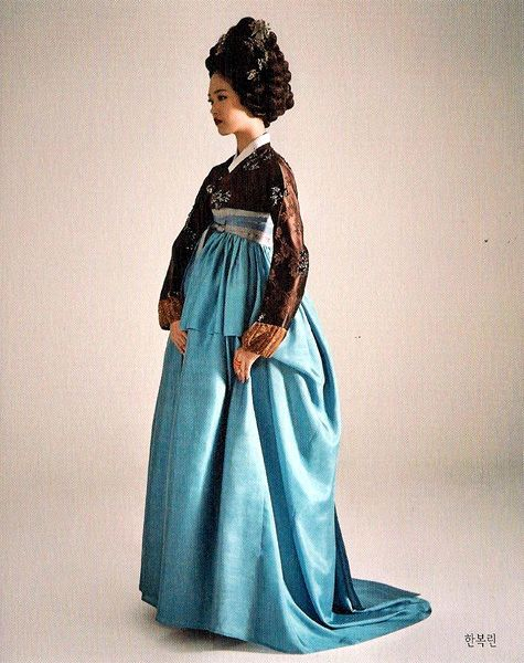 Hanbok - azure draped chima with a train, chocolate jeogori, gache big hair