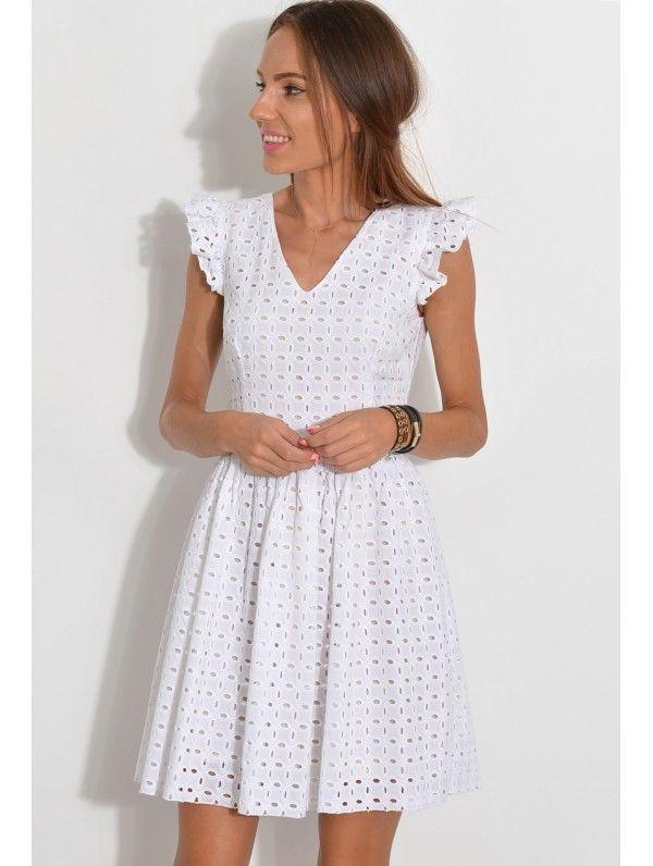 b5849f9e4a Sukienka haft haftowana żabot falbanki modna na wesele polski producent  rozkloszowana gipuira