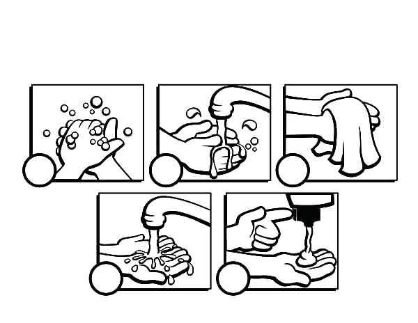 Washing Hands Coloring Page Hand Pages For Kids Hand Washing