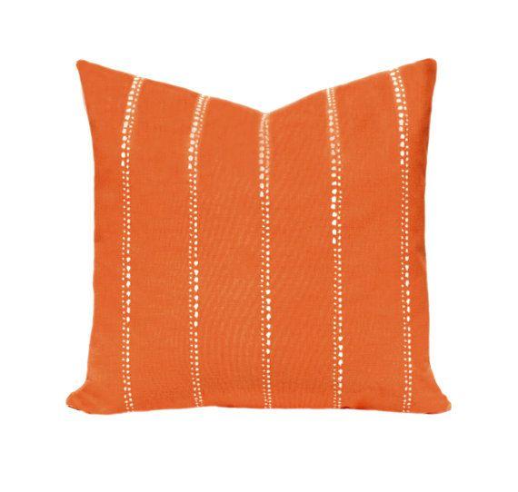 Orange Decorative Pillow Cover, Decorative Pillow Cover, Orange and White Striped Pillow, Orange Cushion Covers, Carlo Monarch Lines Design