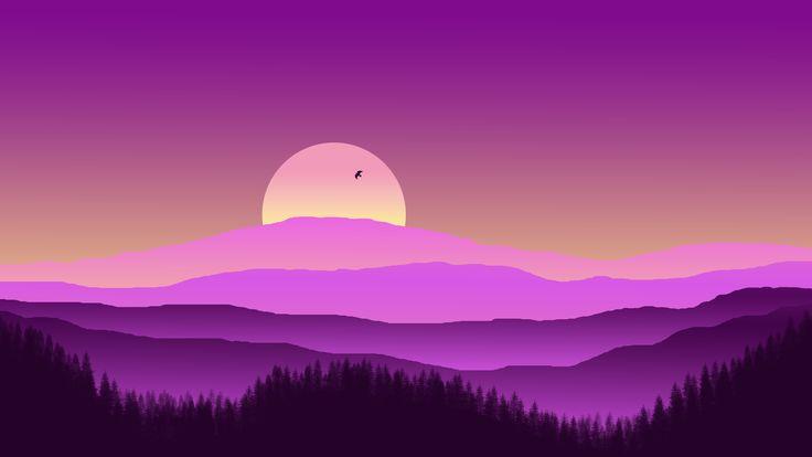 #mountain #silhouette #sunset #purple #spectrum #lanscape