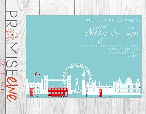 London Themed Wedding Invitation by BethanDdesigns on Etsy, £12.50