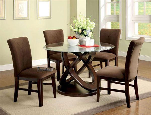 Atwood I Contemporary Style Espresso Wood Finish Glass Table Top Dining Set This Unique Is Accompanied By Four Chairs Upholstered In