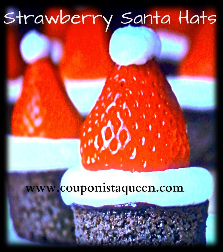 Strawberry Santa Hats,: saw this on a pick with grape for head, banana hat rim, strawberry hat, and marshmallow topper... cute!!