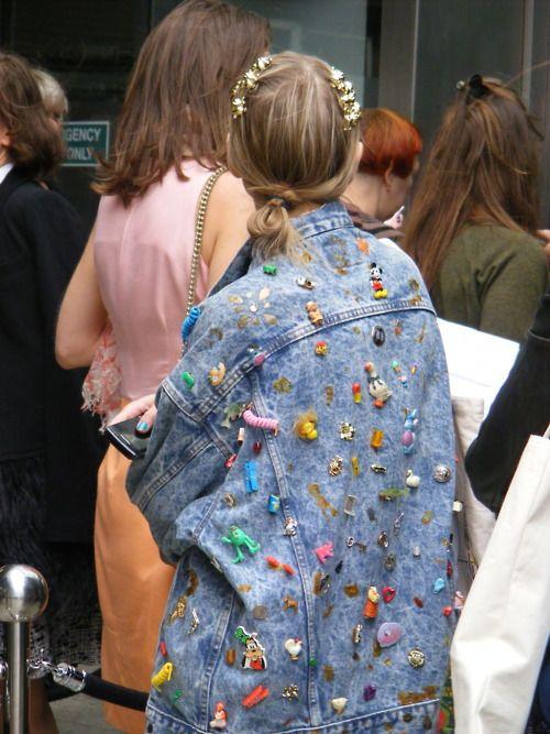 >>>this is flair, tiny toys scattered on oversized denim jacket, Meraki