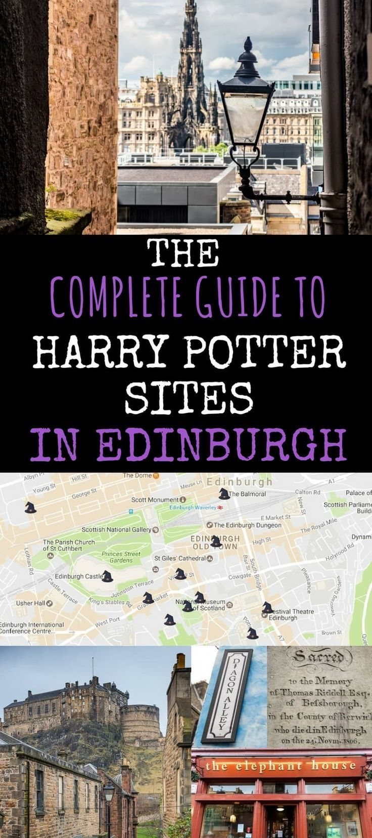 A comprehensive guide to Harry Potter sites in Edinburgh Scotland. Coffee houses, gravestones, cobbled streets, and butterbeer!  This guide tells you how to find the sites, how they are connected to Harry Potter and JK Rowling, and tries to separate fact from fiction.: