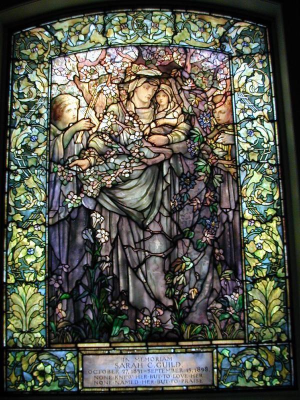 Description: Boston, Massachusetts (MA): Arlington Street Church: Madonna of the Flowers (Tiffany stained glass memorial window, designed c1898, installed 1899)
