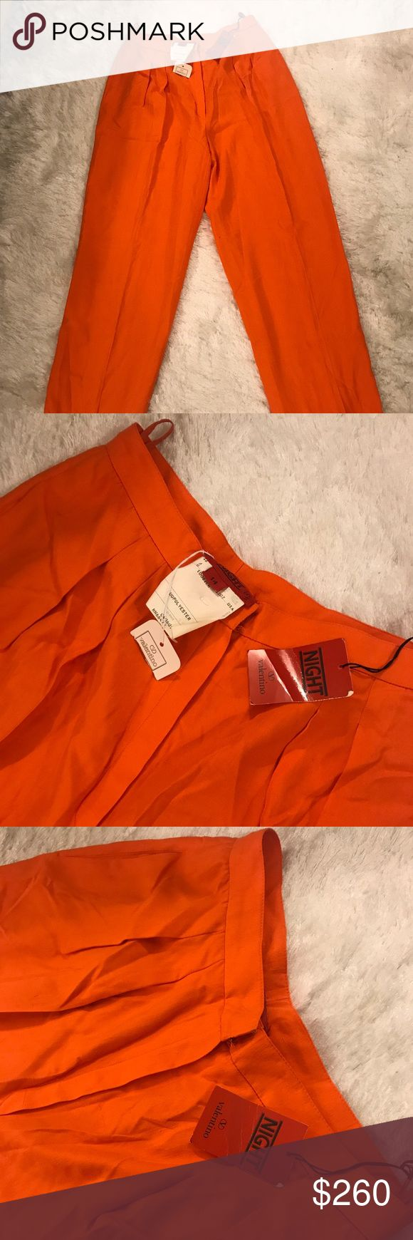"""Valentino Night high waisted orange trouser pants Valentino Night high waisted 100% silk with polyester lining orange wide leg trouser pants - great statement pant vintage collection new with tags! Note it says """"size 14"""" on the tags but fits approximately a women's US size 6 Valentino Pants Trousers"""
