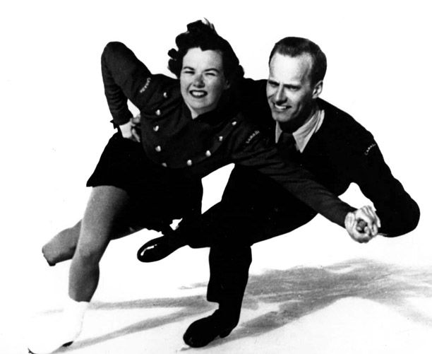 Frances Dafoe and Norris Bowden, silver medalists in figure skating pairs at the 1956 Winter Olympics in Cortina d'Ampezzo, Italy.