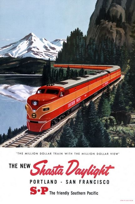 "The Million Dollar Train with the ""Million Dollar View"" Created in the 1950's as a color halftone atåÊ59 x 41 cm. Poster shows diesel locomotive pulling passenger train on tracks by a lake in the moun"