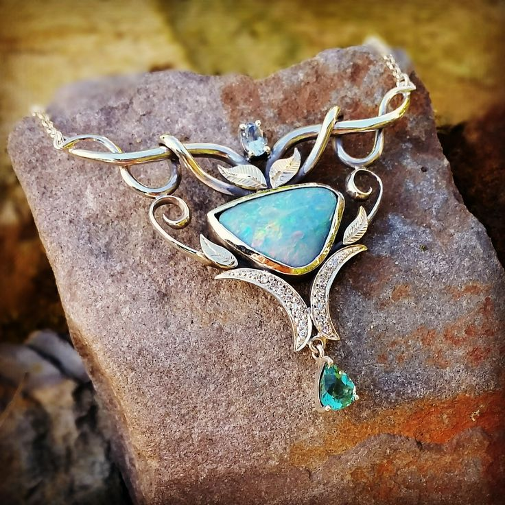 Adorned By Sally Sterling silver & 9ct Yellow gold necklace. Set with Aus Boulder Opal and pear cut Apatite $950