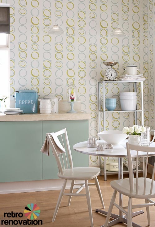Retro wallpaper from original 1960s and 1970s designs for Kitchen wallpaper designs