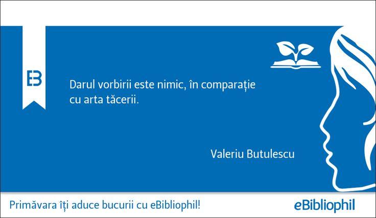 """""""Darul vorbirii este nimic, în comparație cu arta tăcerii."""" Valeriu Butulescu"""