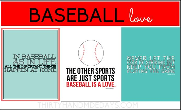 Perfect for the Baseball lovers in your life! 3 Baseball Printables from www.thirtyhandmadedays.com