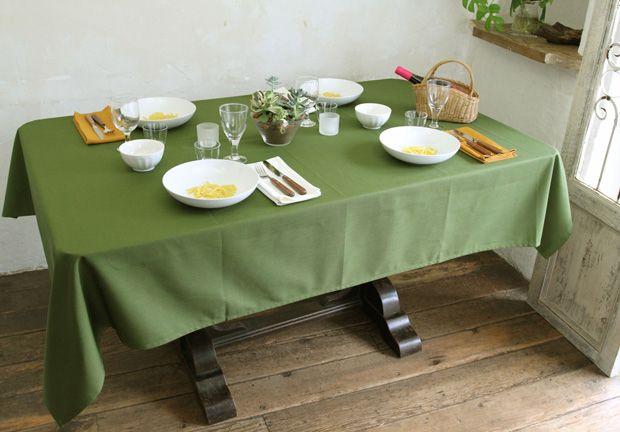 撥水加工のテーブルクロス 無地 バジル(緑)   定番テーブルクロス,デリシャスカラー無地テーブルクロス     テーブルクロスの専門店 ルームレシピ¥5200