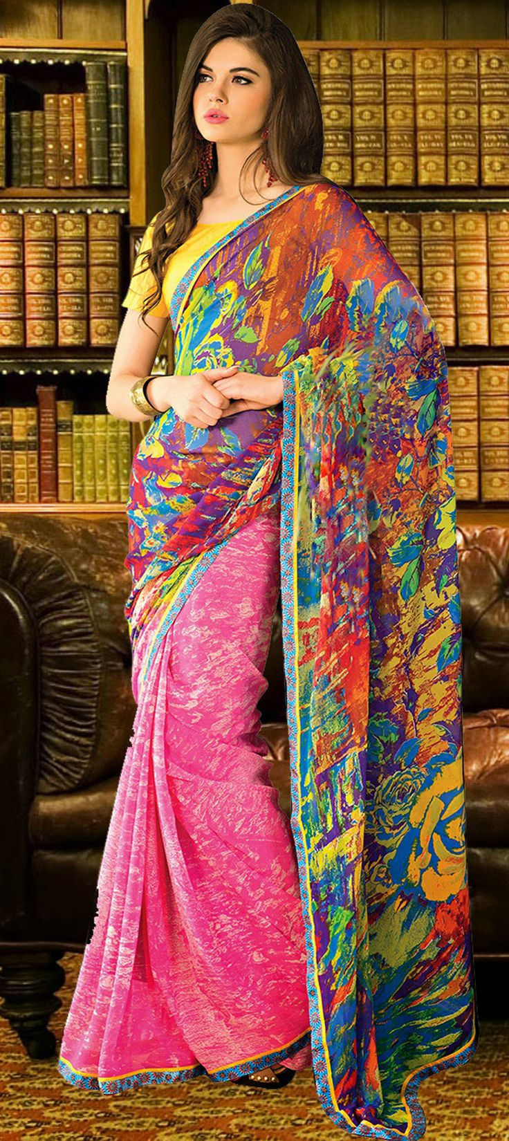 Another multi-color #saree depicting the fun of Indian Festival #Holi.  #Partywear #Prints #IndianFashion