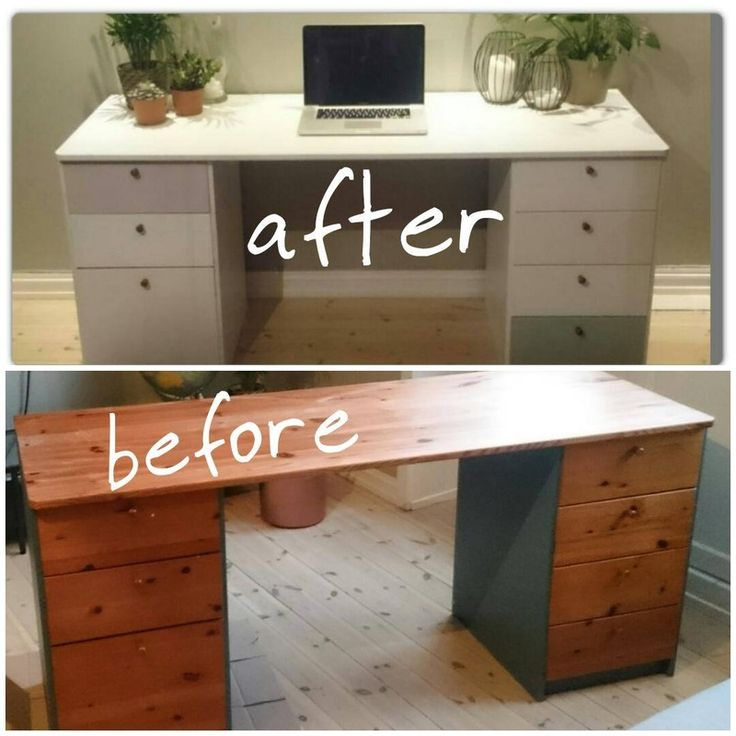 DIY upcycling project of an old desk. Turned out perfekt in white, light gray, calm green and baby pink!