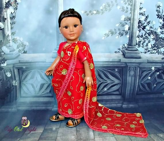 a2c7504b855 Doll Sari Indian Outfit or Bollywood Costume in Red -- Made from ...