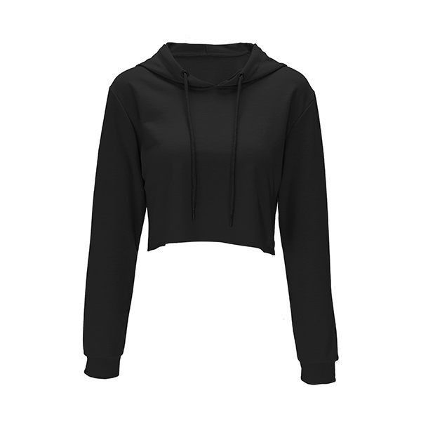 Rotita Long Sleeve Hooded Collar Black Crop Sweatshirt ($26) ❤ liked on Polyvore featuring tops, hoodies, sweatshirts, jackets, black, hooded sweatshirt, long sleeve tops, long sleeve pullover, cropped sweatshirt and collared sweatshirt