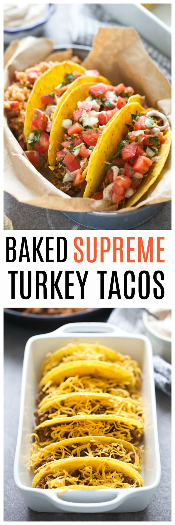 Baked Supreme Turkey Tacos: Loaded with fat-free refried beans, seasoned turkey meat, and melted cheese! Topped with Greek yogurt sauce and an easy pico.