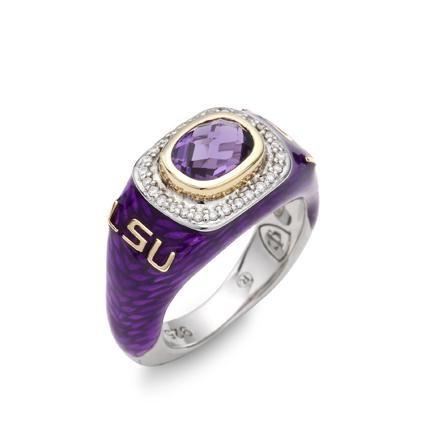 Lee Michaels Fine Jewelry | LSU Amethyst & Diamond Ring by Collegiate Jewel