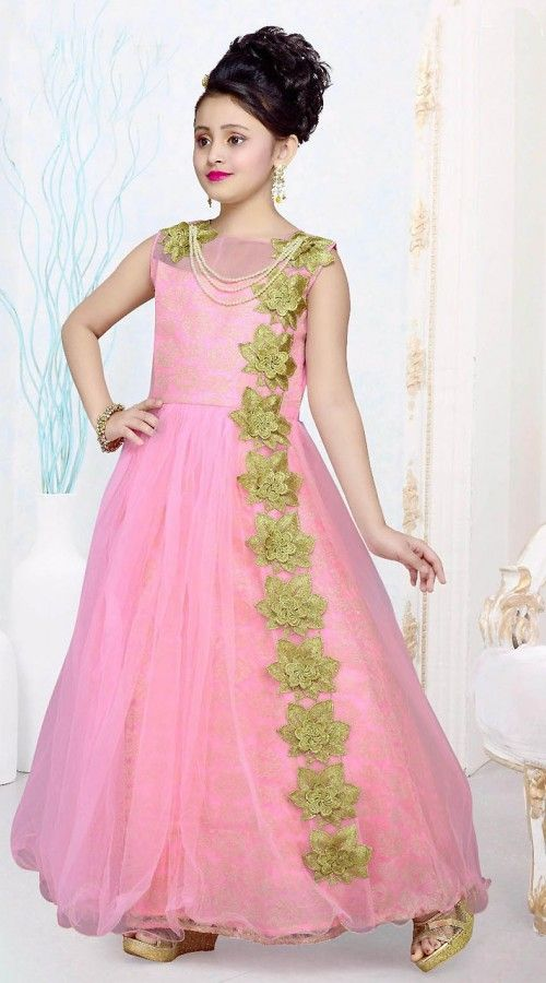Fabulous Green Floral Patch Work Pink Net Kids Girl Gown ... - photo#21