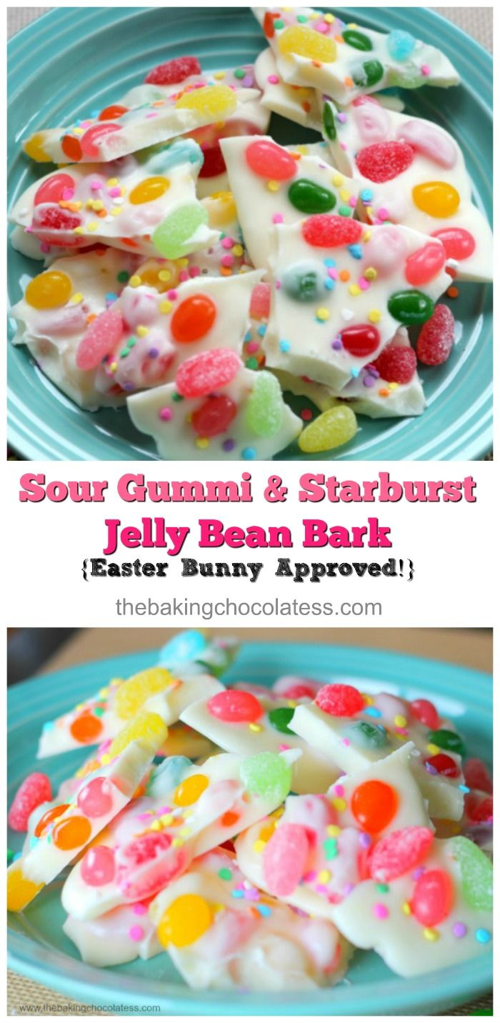 This particular white chocolate bark has of two kinds of jelly beans incorporated in it.  Brach's Gummi Sour Jelly Beans and Starburst Tropical Jelly Beans, and it's really delicious!  Pleasantly surprised and addictive!   via @https://www.pinterest.com/BaknChocolaTess/