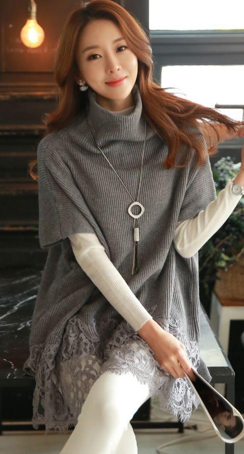 StyleOnme_Laced Long Knit Turtleneck #turtleneck #loosefitted #longknit #knittop #knitdress #laced