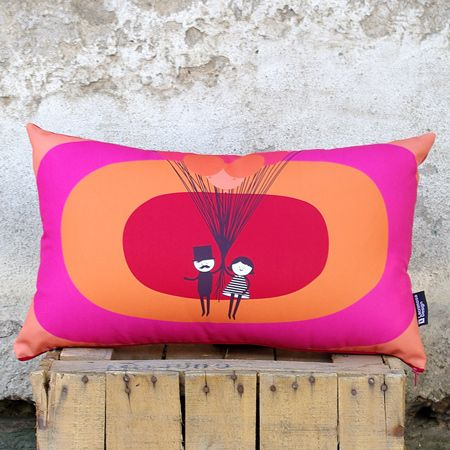 """""""Meet you in pink"""" Let's fly together and see the world from above. Funny and cheerful child's pillow with bold colors in the background that will find its own distinctive position. Adjacent next to the window or in our bed, ti will make me smile every time. Perfect gift to suit all tastes, we combine it with other dark gray square or oblong pillows, to create contrast."""