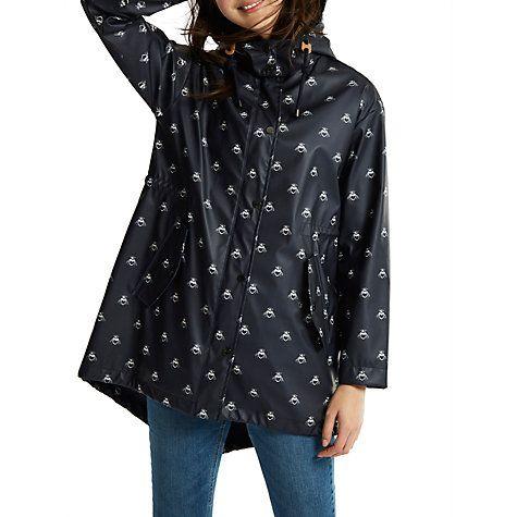Buy Joules Right as Rain Mistral Printed Waterproof Parka, Navy Bee Online at johnlewis.com
