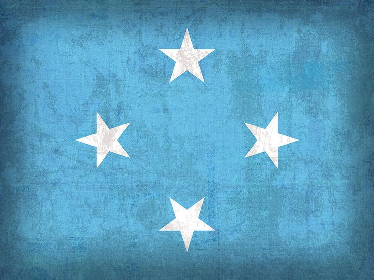 Micronesia Flag Vintage Distressed Finish Mixed Media