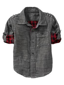 Convertible double weave shirt. Love the hint of plaid on the inside