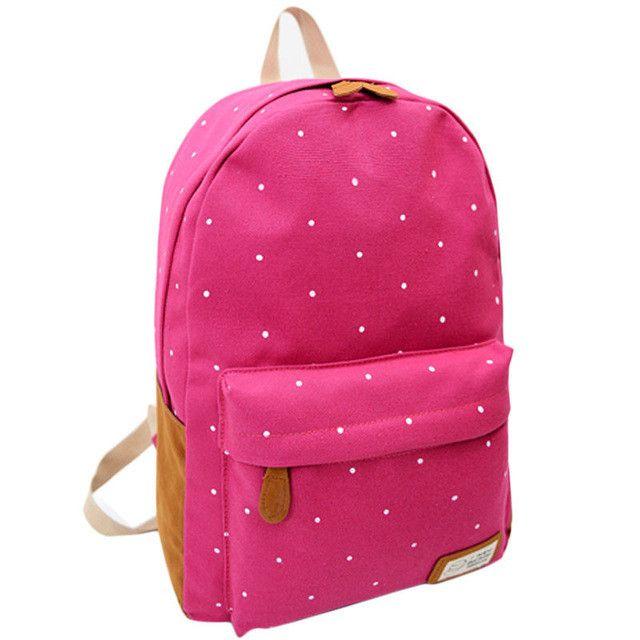 2015 Fashion Students Oversize Bag Backpack Women Girl Canvas Rucksack Polka Dot Backpack School Book Shoulder Bag Free Shipping