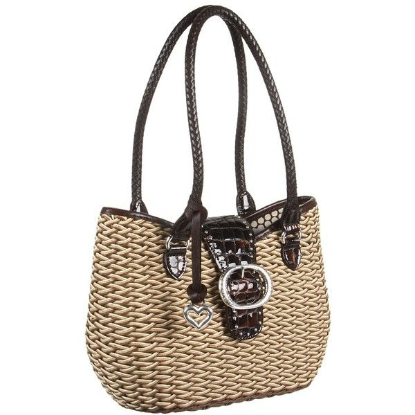 Brighton Shauna Straw Tote (11.030 RUB) ❤ liked on Polyvore featuring bags, handbags, tote bags, straw handbags, straw tote bag, straw tote, brighton handbags and brighton purses