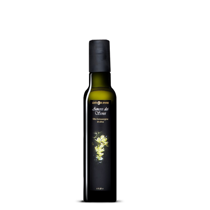 """$6.40 - EVOO """"Amore dei Sensi"""" - Extra virgin olive oil 100% #italian - 0,25L.  A high quality extra virgin olive oil. The flavor reflects soils and climate of Loreto Aprutino a small town in #Abruzzo with an ancient culture in olive oil production. The perfect processing method provide a #gourmet extra virgin olive oil. The oil smells just like freshly pressed olives. The #taste is mild, slightly bitter and spicy. Great for meats, fish, cheeses and salads - extravergine di oliva italiano -"""