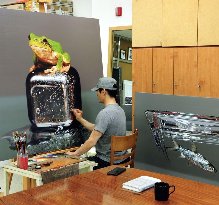 Progress^^🐸 #김영성 #극사실 #물고기 #개구리 #달팽이 #극사실주의 #현대미술 #ykim #YoungsungKim #Hyperrealism #hyperrealistic #oil #painting #drawing #contemporaryart #art #handpainted #environment #frog #snail #insect #goldfish #animal #sculpture #museum #artgallery #gecko #progress #cube #shark