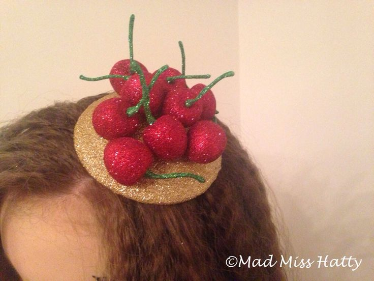 Cherry Bomb fascinator by Mad Miss Hatty. Cherries that sparkle, perfect for parties, fancy dress, kitsch 50s or even Halloween ❤️