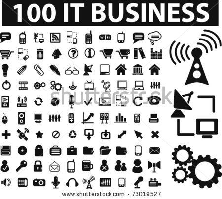 100 it & business icons, vector by VectorForever, via ShutterStock