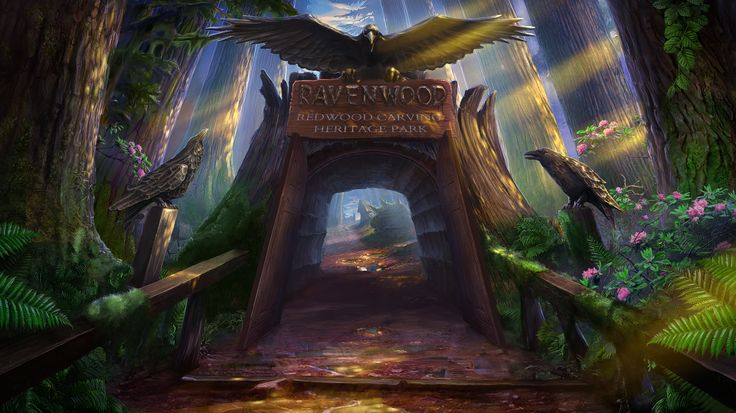 Enigmatis: The Mists of Ravenwood - Sunny Gate www.artifexmundi.com/page/enigmatis2 #raven #bird #redwood #park #entrance #game #adventure https://www.facebook.com/ArtifexMundi.Enigmatis