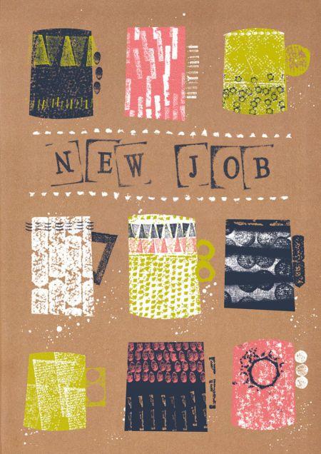 Rebecca Prinn - RP Grunge Marks Mugs New Job Congratulations Greeting Card
