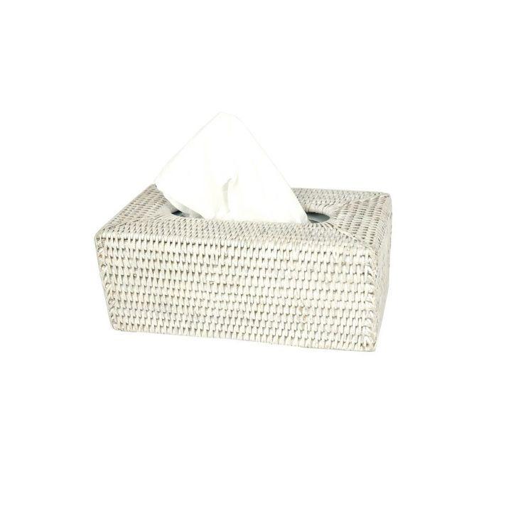 White rattan tissue box.