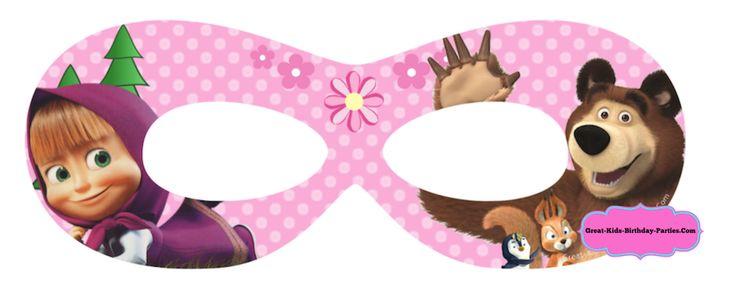 Kids Printable Masks - Masha and The Bear