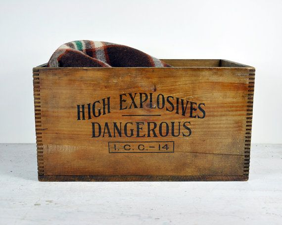 Vintage Powder Explosives Wooden Shipping Crate
