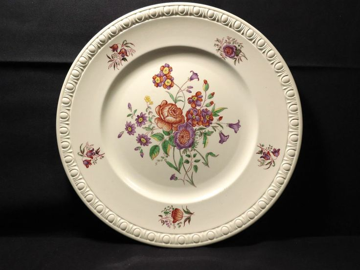 Spode Dinner Plate Centurion Vintage Red Purple Yellow Flowers White 10 3/4