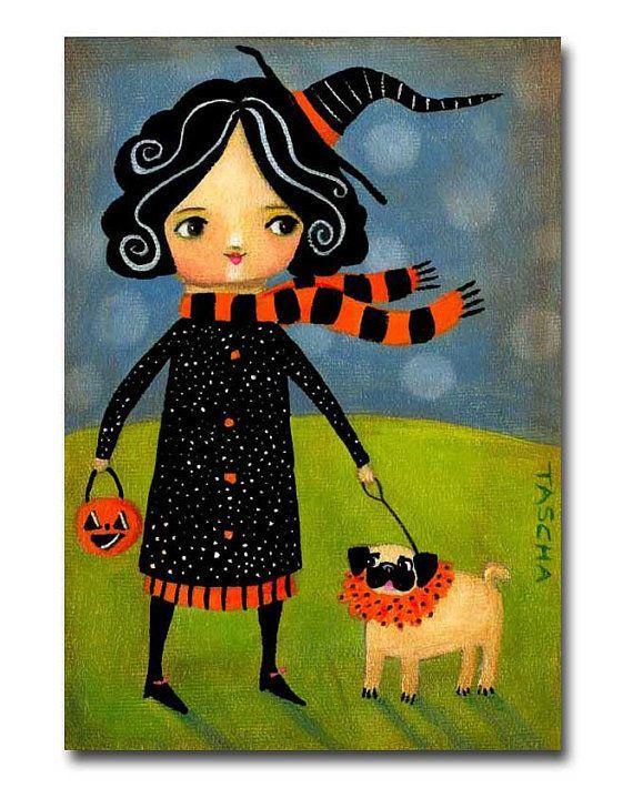 ORIGINAL Halloween PUG Dog trick or treat acrylic folk by tascha