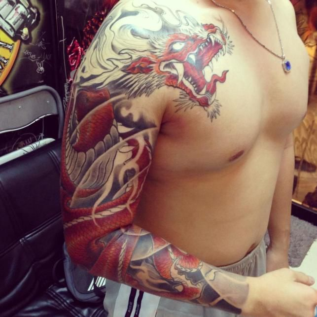 Wonderful Traditional Dragon Tattoo On Man Right Full Sleeve By Bengkel
