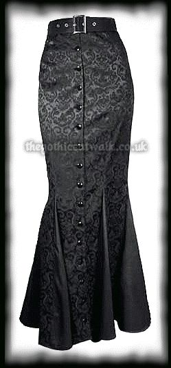 Plus Size Long Black Damask Fitted Skirt from The Gothic Catwalk